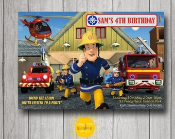 Boy Birthday Invitation Personalised Printable Any Age Fireman Sam
