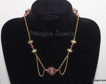 Double loop Gold plated Necklace with beads