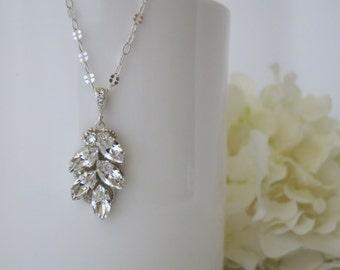 Swarovski rhinestone pendant necklace, Simple bridal necklace, Crystal wedding pendant