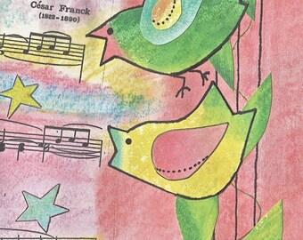 unique // Birds // Singing // Panis Angelicus // Cute // Colorful // Primitive // Musical // medium size // inexpensive //