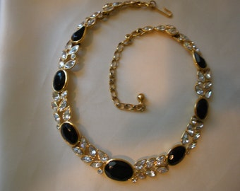 vintage Trifari black and clear rhinestone necklace