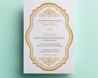 Elegant wedding invitation template, classic wedding invitation design golden printable wedding invitation instant download  gold wedding