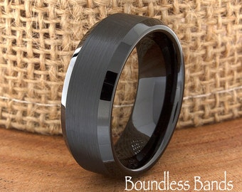 Wedding Tungsten Band Black Brushed Beveled Edges Ring Custom Laser Engraved Tungsten Anniversary Ring Couple Ring Mens Ring 8mm Band New