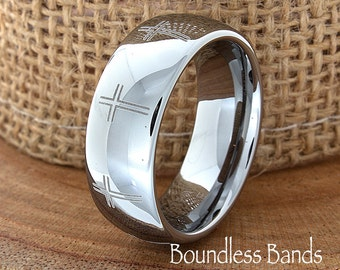 Crosses Tungsten Wedding Band Ring Domed Polished Customized Tungsten Band Any Design Laser Engraved Ring  Mens Tungsten Ring Anniversary