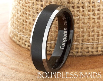 Tungsten Band Black Beveled Edges Custom Laser Engraved Tungsten Anniversary Ring Couple Wedding Ring Mens Ring 6mm Brushed Black Tungsten