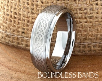 Celtic Knot Tungsten Wedding Ring Mens 7mm Customized Laser Engraved Band Mans Women Anniversary Ring New Design Classic Modern His Hers New