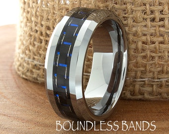 Blue Carbon Fiber Tungsten Wedding Ring 8mm Mens Wedding Band Custom Laser Engraving Ring For Him Personalized Blue Mens Womens Ring New
