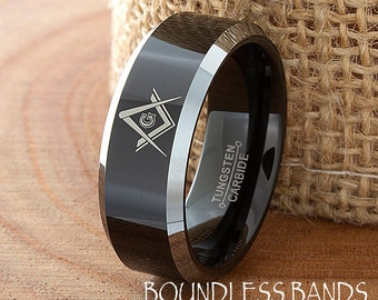 Tungsten Band Black Polished Beveled Edges Two Tone 8mm Custom Masonic Laser Engraved Tungsten Anniversary Ring Couple Rings  Mens Womens