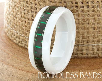 Ceramic Wedding Ring Mens Wedding Band White Ceramic Band Green Carbon Inlay Band His Hers Classic New Design Fashion Anniversary Modern 8mm