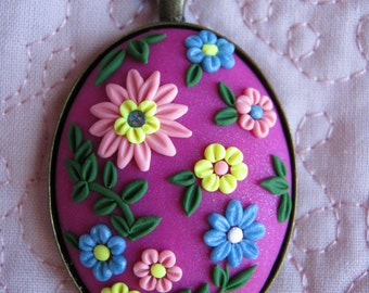 Polymer Clay Pendant Necklace/ Oval