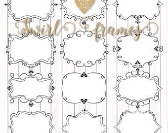 Premium VECTOR Frames, Rustic swirl frames clipart, photo frame clipart, wedding clipart, digital frames