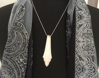 Special silver necklace from silver spoon on snake chain