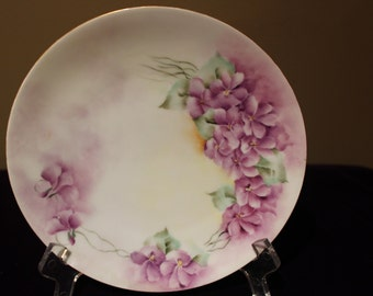 Hand Painted Purple Violets Plate