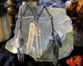 quartz crystal and blue kyanite chain and wire dangles: counterpoint earrings