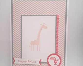"Congratulations on your baby girl card 5""x7"""