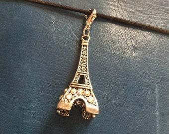 Paris, Eiffel Tower, Traveler's Notebook Charm , Clip On, Leather Journal