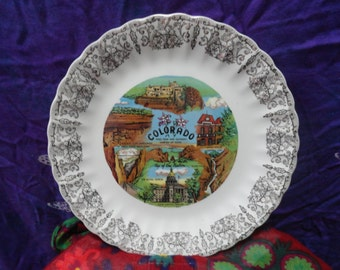 Colorado souvenir plate Denver/Seven Falls/Central city/Pikes Peak/Garden of the Gods/collector/dinner/
