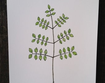Small Leaves Branch, Watercolor, reproduction from original drawing