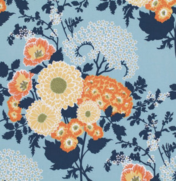 Joel Dewberry Botanique Bold Bouquet Deep Water Remnant 1/4 yard to 1/2 yard