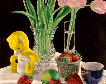 Still Life: Tulips and Strawberries