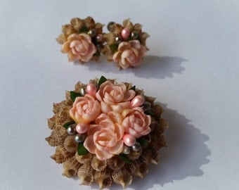 Antique Shell Brooch and Earring Set