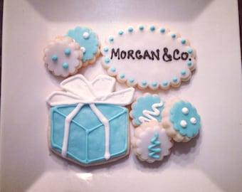 Teal gift package Sugar Cookies