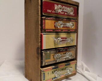 """Hand made Cabinet Storage Unit  made from Vintage Cigar Box Drawers with 3"""" Antique Glass Handles / Repurposed Wooden Box/ Decorative & Use"""