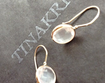14k solid rose gold and pink quartz earrings