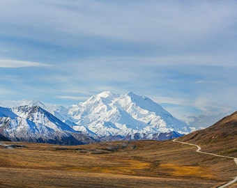 Mt McKinley, Snowy Mountains, Denali Landscape, Black and White Landscape, Fine Art Photography, Nature Photography, One Way In
