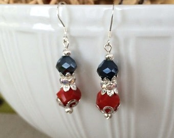 Red Glass Earrings, Black Glass Earrings, Dangle earrings, Red Bead Earrings, Black Bead Earrings, Ruby Earrings, Sterling Silver, Jewelry