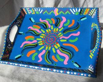 Handpainted Blue Tray