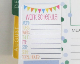 10 Work Schedule Stickers | Planner Stickers designed for use with the Erin Condren Life Planner | 0901
