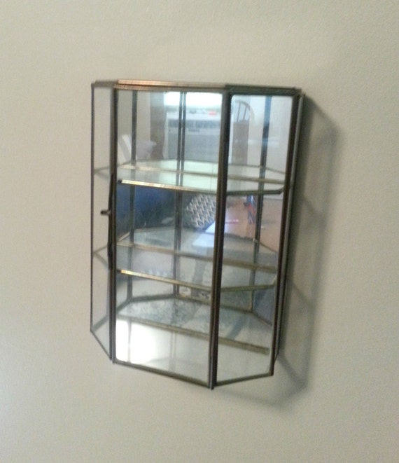 Items similar to vintage wall hanging brass glass mirror for Mirrored box shelves