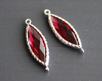 A2-103-R-RU] Ruby Red / 10 x 25mm / Rhodium plated / Marquise Glass Pendant / 1 piece
