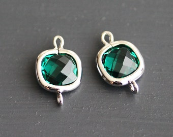 A2-094-R-EM] Emerald Green / 8mm / Rhodium plated / Round Square Glass Pendant Connector /  2 pieces