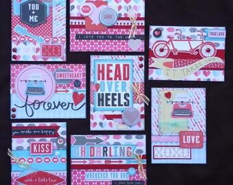 Valentine Card Kit, Premade Valentine Cards, Handmade Card Kit, Handmade Valentine Card Kit, Pre-made Valentine Cards, Valentines Day Cards