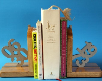Laser cut wood bookends Custom Personalized for Wedding, Anniversary, Birthday wooden bookends