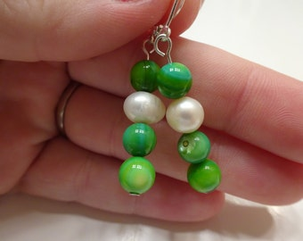 Freshwater Pearl and Green Cats-eye Clasp-Back Dangle Earrings