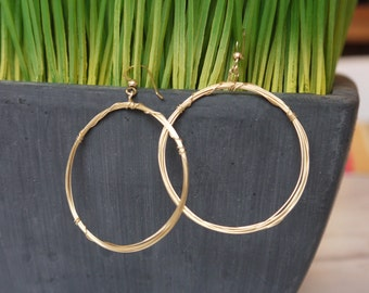 Gold-filled wire hoop earrings