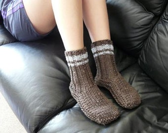 Cosy Brown Sheepskin and Wool Slipper Socks
