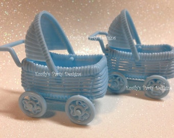 "12 Baby Blue Baby Shower Carriage 2 1/4"" wide."