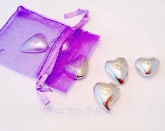 Couples gift, sweetheart gift, heart shaped pebble, pewter, hand stamped, hand poured, wedding favour, valentine's gift, love token