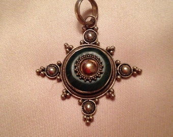 Vintage Silver Charm for Necklace 925 with Jade