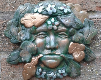 GreenMan & GreenLady Garden Wall Plaques   Hand Cast and Painted Frost Proof PAGAN WICCAN