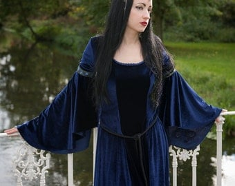 Luna Dress - *most colours available* Handmade Medieval Velvet Lady Of The Lake Dress With Bell Sleeves