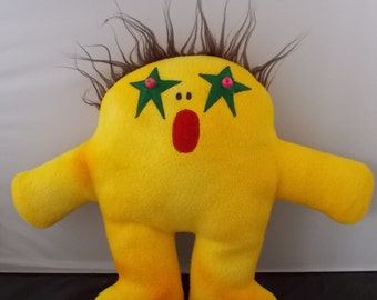 Plush Yellow Alien Monster Creature with Green Star Eyes