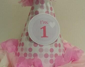 1st Birthday Girl Pink White Polka Dot Party Hat