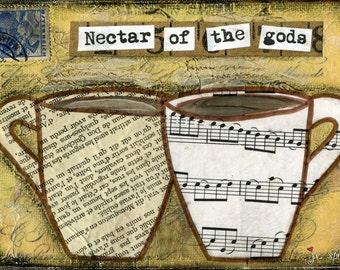 "Whimsical Coffee Art, Mixed Media Art, Folk Art, Choose: Card, Magnet, Bookmark, Postcard, Notebook, Print or Mounted Print ""Nectar Coffee"""