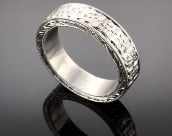 Hand engraved   wedding band