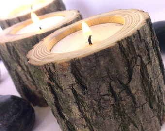 Natural Rustic Wooden Candle Holders, Tea Light Holder, Rustic Centerpiece, Home Decor, Rustic Wedding Decor, Tealight, Wood, Log, Branch